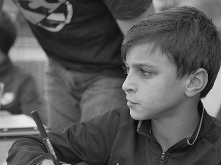 Boy, Sad, Students, Black And White Photography
