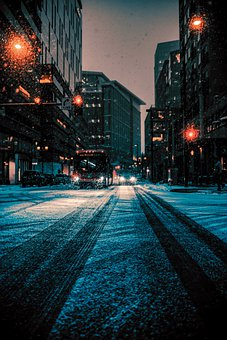 Winter, Night, City, Lights, Sky, Colorful, Cold, Frost