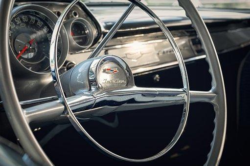 Cockpit, Oldtimer, Steering Wheel, Dashboard, Interior