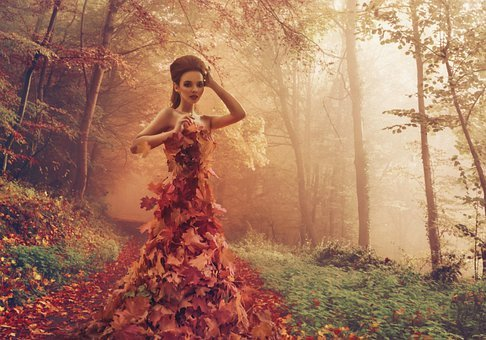 Woman, Autumn, Leaves, Nature, Fall, Fairytale, Female