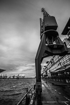 Hamburg, Port, Elbe, Hanseatic City, Black White
