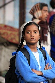 India, Schoolgirl, Look, Mats, Child, School