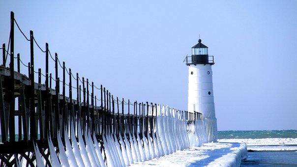 Lighthouse, Ice, Snow, Manistee, Lake Michigan, Pier