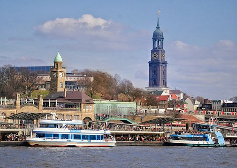 Hamburg, Michel, Port, Elbe, View, Landmark, Germany