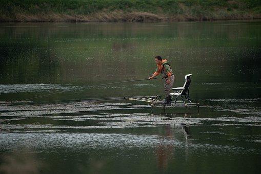 Fishing, Korea, River, Lake, Landscape