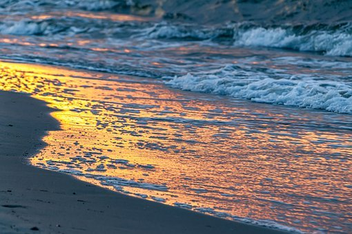 Landscape, Sea, Sunset, Wave, Surf, Water, Sand