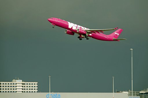Plane, Wow Air, Schiphol, Amsterdam, Contrast, Light