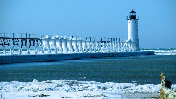 Winter, Ice, Snow, Pier, Lighthouse, Lake Michigan