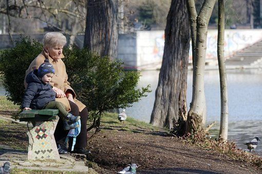 Woman, Age, Grandma, Child, Small, Place, Together