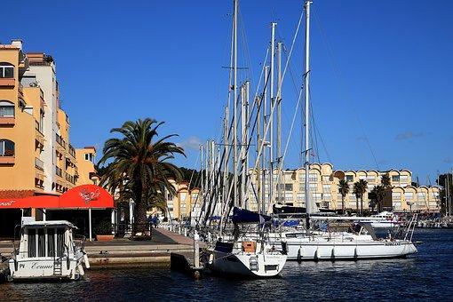 Port, Boat Gruissan, Sailboats, Sails
