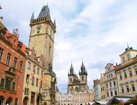 Old Town, Square, Tyn Church, Prague