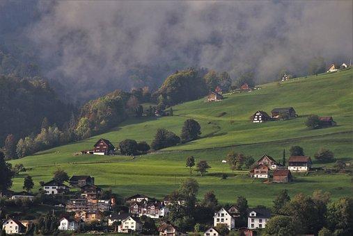 View, Morning, Przeciwmgielnie, Alpine Village, Meadow