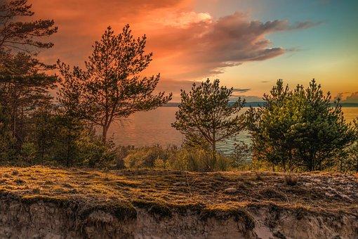 Landscape, Sea, Sunset, Romantic, Clouds
