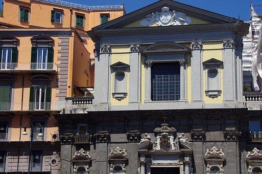 Italy, Naples, Facade, Sculpture, Buildings