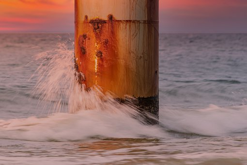 Pillar, Metal, Rusty, Post, Sea, Wave, Spray, Iron