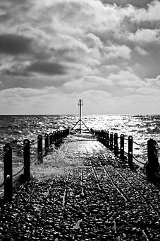 Sea, Black And White, Stormy, Beach