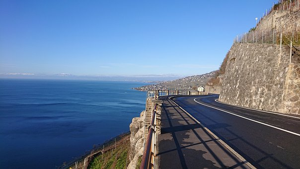 Geneva, Blue Lake, Chexbres, Road, Sky Horizon, Rock