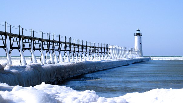 Lighthouse, Ice, Winter, Snow, Michigan, Pier