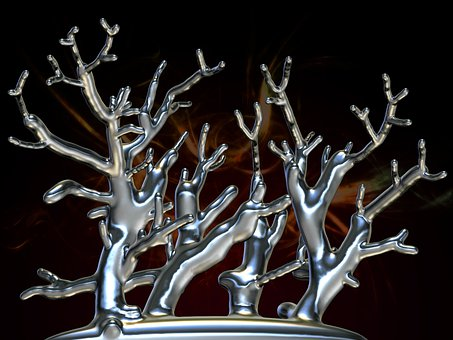 Silver, Metallic, Aesthetic, Tree, Abstract, Branch