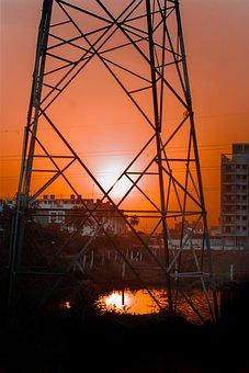 Sunset, Electricity Pole, Urban, Evening Photo, Nature