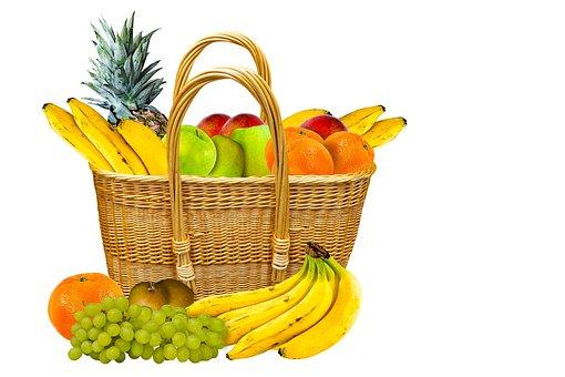 Eat, Fruit, Shopping, Basket, Vitamins, Banana, Grapes
