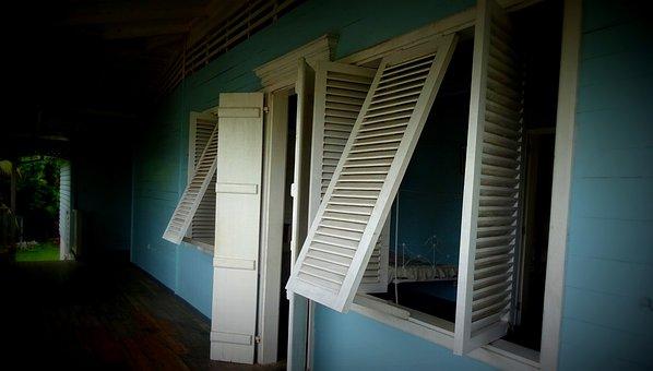 Veranda, Window, Villa, Seychelles, House, Weis, Blue