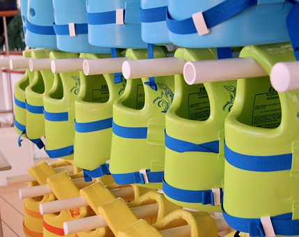 Life Jacket, Life Vest, Lined Up, Green, Blue, Yellow