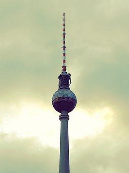 Berlin, Tv Tower, Capital, Alexanderplatz, Alex, Sky