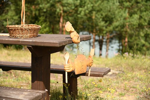 Sculpture, Bench, Dining Table, Nature, Camping Trip