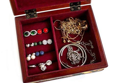 Casket, Jewelry, Silver, Gold, Ornament, Bijouterie
