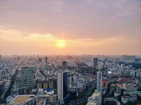 Sun, City, Landscape, Nature, Sky, Hcmc, View, Mood