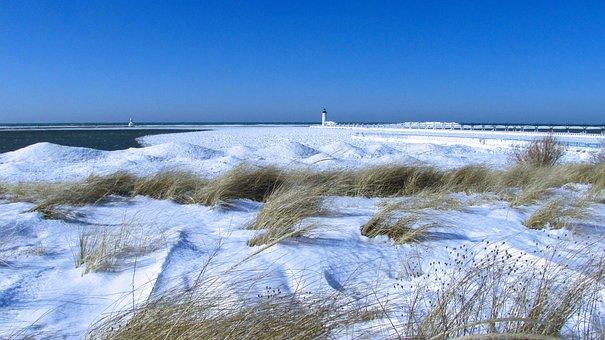 Snow, Lake Michigan, Shore, Lighthouse, Frozen