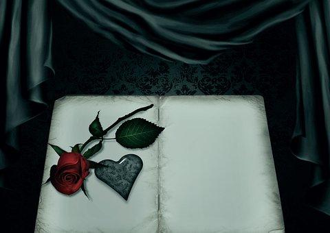Book, Rose, Heart, Gothic, Goth, Curtain, Romance, Love