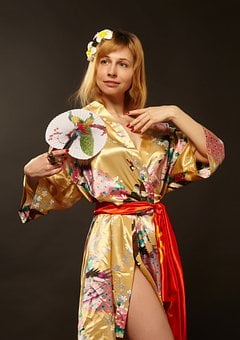 Kimono, Girl, Oriental Style, Fan, Asia, Paper Fan