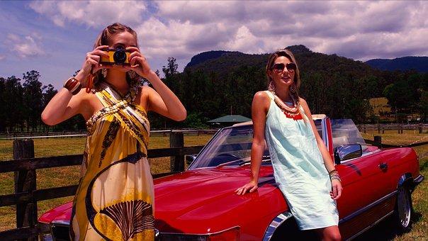 Woman, Red, Car, Portrait, Fashion, Creativity