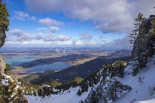 Mountain, View, Lakes, Forest Lake, Lake Forggensee