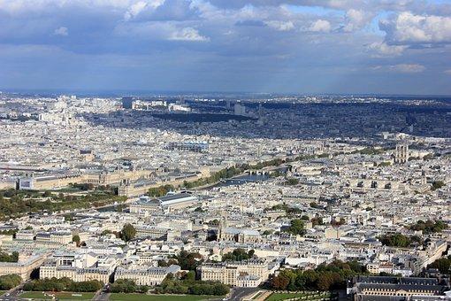 Air, Eiffel Tower, Paris, City, Architecture, Sky