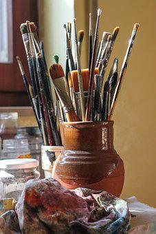 Paintbrushes, Art, Painting, Paint