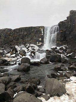 Waterfall, Water, Iceland, Cascade