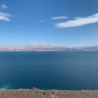 Dead Sea, Deadsea, Sea, Israel, Landscape, Blue, Clouds