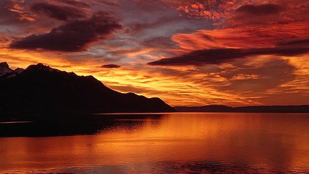 Fire, Veytaux, Lake, Twilight, Geneva, Mountain, Shadow