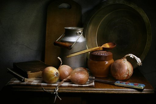 Still Life With Onions, Kitchen, Old, Cans, Pot, Clay
