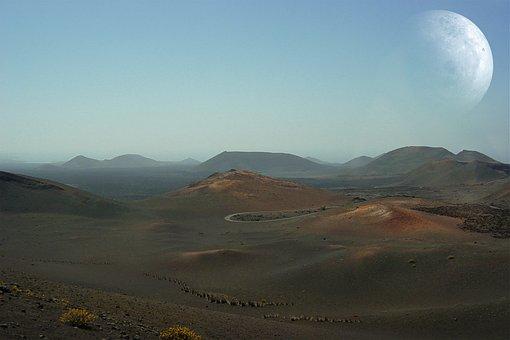 Landscape, Lanzarote, Volcanoes, Timanfaya, Sky, Moon