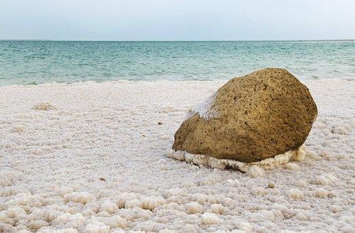 Israel, Dead Sea, Salt, Shoreline, Landscape, Blue