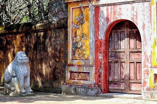 Vietnam, Hue, Goal, Wall, Sculpture, Lion