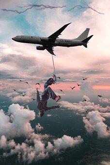 Sky, Plane, Man, Airplane, Aircraft
