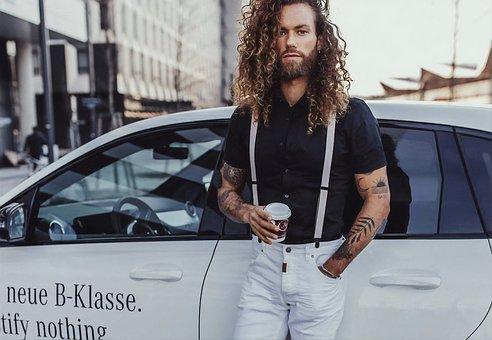 Man, Guy, Long Hair, Mercedes Benz