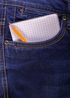 Jeans, Pencil, Pad, Notebook, Note, Close-up, Spiral