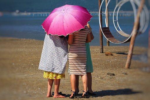 Vietnam, Parasol, Beach, Women, Hoi An, Screen