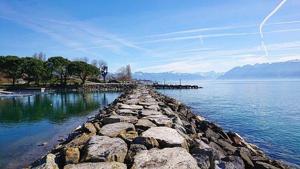 Horizon, Pierre, Lake, Sky, Blue, Geneva, Trees, Water